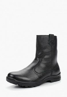 Мужские черные осенние кожаные сапоги