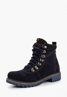 Женские синие осенние ботинки из нубука на каблуке