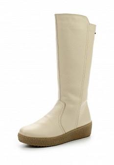 Женские белые осенние кожаные сапоги на каблуке