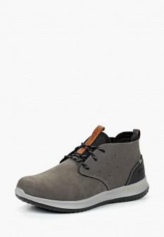 Мужские серые осенние кожаные ботинки из нубука