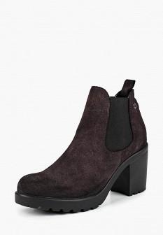 Женские фиолетовые осенние кожаные ботильоны на каблуке