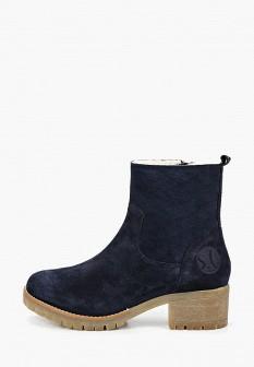 Женские синие осенние сапоги на каблуке