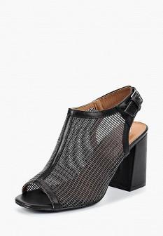 Женские черные кожаные текстильные босоножки на каблуке