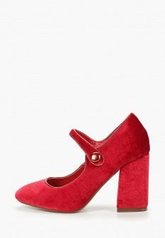 Женские красные бархатные туфли на каблуке