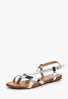 Женские серебряные кожаные сандалии из нубука
