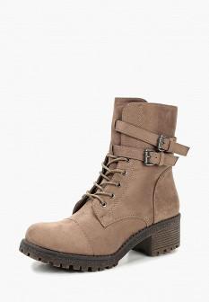 Женские бежевые осенние ботинки на каблуке