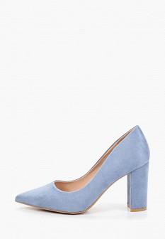 Женские голубые осенние туфли на каблуке