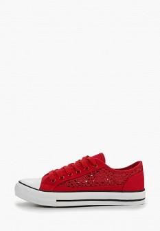 Женские красные текстильные кеды на каблуках