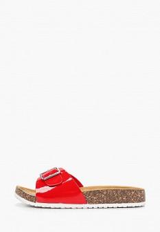 Женские красные лаковые сабо на каблуке