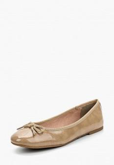 Женские бежевые кожаные лаковые балетки