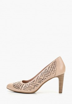 Женские бежевые кожаные туфли на каблуке