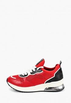 Женские красные кожаные кроссовки