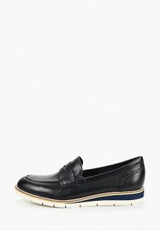 Женские синие кожаные туфли лоферы