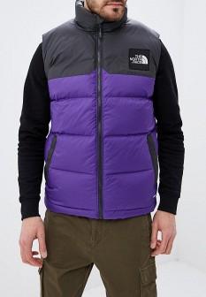 Мужской фиолетовый осенний утепленный жилет