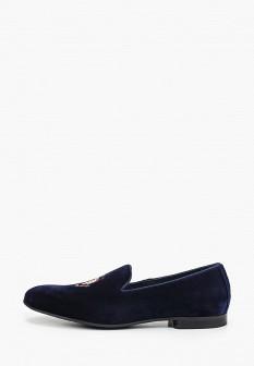 Мужские синие осенние текстильные туфли лоферы