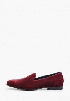 Мужские бордовые осенние текстильные туфли лоферы