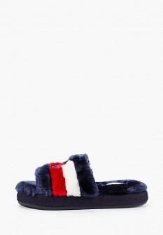 Женские синие осенние меховые тапочки