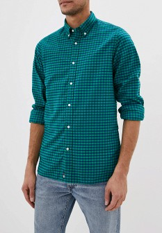 Мужская зеленая осенняя классическая рубашка fitted