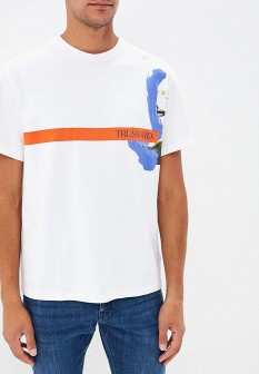 Мужская белая итальянская осенняя футболка