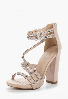 Женские бежевые босоножки на каблуке на платформе
