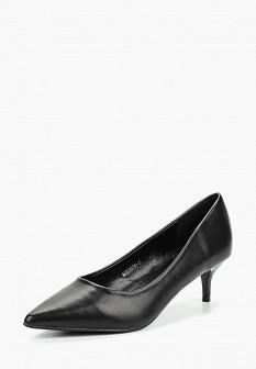 Женские черные осенние кожаные туфли на каблуке