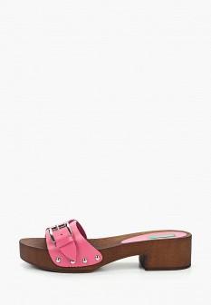 Женские розовые итальянские кожаные сабо на каблуке