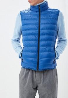 Мужской синий осенний утепленный жилет