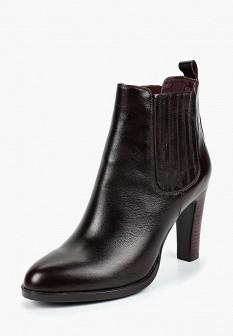Женские бордовые осенние кожаные ботильоны на каблуке