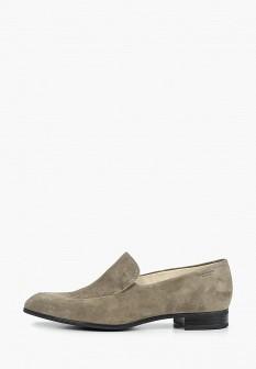 Женские серые туфли лоферы на каблуке