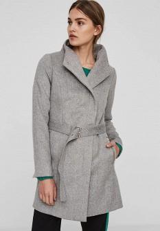 Женское серое осеннее пальто