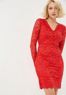 Красное осеннее платье Vero moda