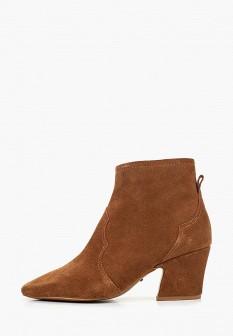 Женские коричневые ботильоны на каблуке