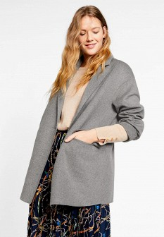 Женское серое пальто Violeta by Mango