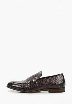 Мужские коричневые кожаные лаковые туфли лоферы