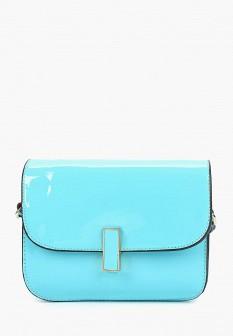 Женская голубая кожаная лаковая сумка