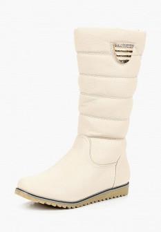 Женские белые осенние кожаные сапоги на платформе