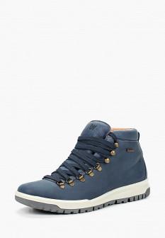 Мужские синие осенние кожаные ботинки