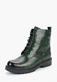 Женские зеленые осенние кожаные ботинки на каблуке