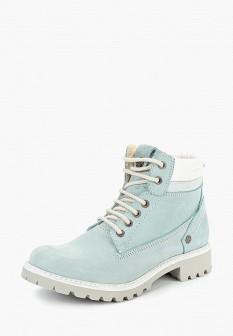 Женские голубые осенние ботинки из нубука на каблуке