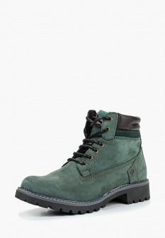 Женские зеленые осенние ботинки на каблуке
