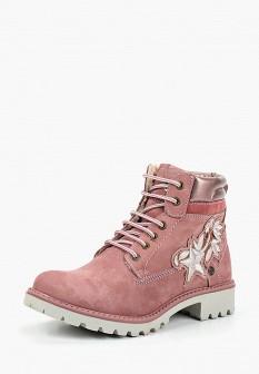 Женские розовые осенние ботинки из нубука