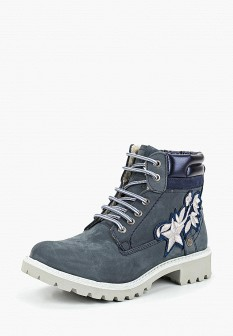 Женские синие осенние ботинки из нубука на платформе