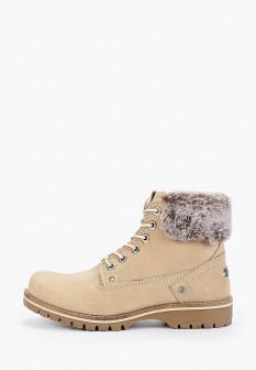Женские бежевые осенние ботинки из нубука