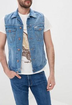 Мужской голубой осенний джинсовый жилет