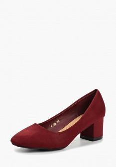 Женские бордовые осенние туфли на каблуке