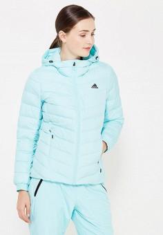 Пуховик, adidas, цвет: голубой. Артикул: AD094EWUOG70. Одежда / Верхняя одежда / Пуховики и зимние куртки