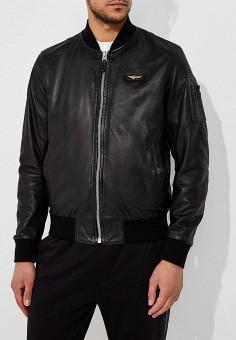 Куртка кожаная, Aeronautica Militare, цвет: черный. Артикул: AE003EMZPY70. Одежда / Верхняя одежда / Кожаные куртки