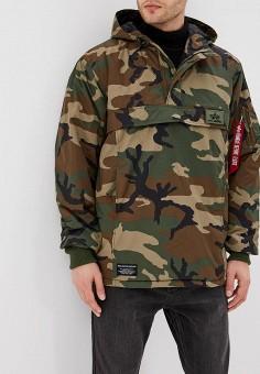 Куртка утепленная, Alpha Industries, цвет: хаки. Артикул: AL507EMCCEI9. Одежда / Верхняя одежда / Демисезонные куртки