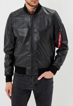 Куртка кожаная, Alpha Industries, цвет: черный. Артикул: AL507EMZZR51. Одежда / Верхняя одежда / Кожаные куртки