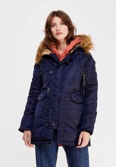 Куртка утепленная, Alpha Industries, цвет: синий. Артикул: AL507EWUHN58. Одежда / Верхняя одежда / Демисезонные куртки